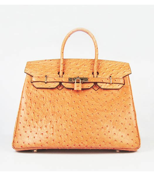Hermes Birkin 35cm Bag Orange Ostrich Veins Leather Golden Metal
