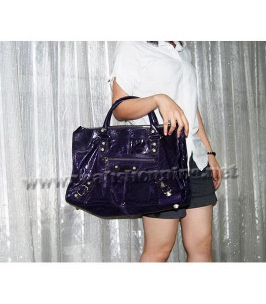 Balenciaga Oversized Balenciaga Giant City Lambskin Handbag in Dark Purple-7