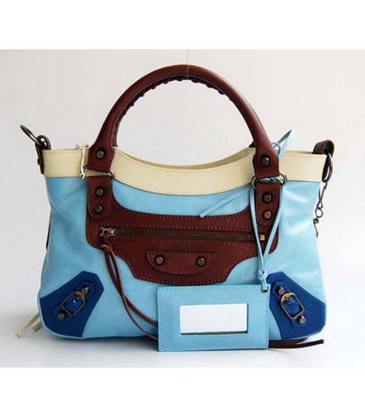 Balenciaga First Colorful Bag in Light Sky Blue Leather
