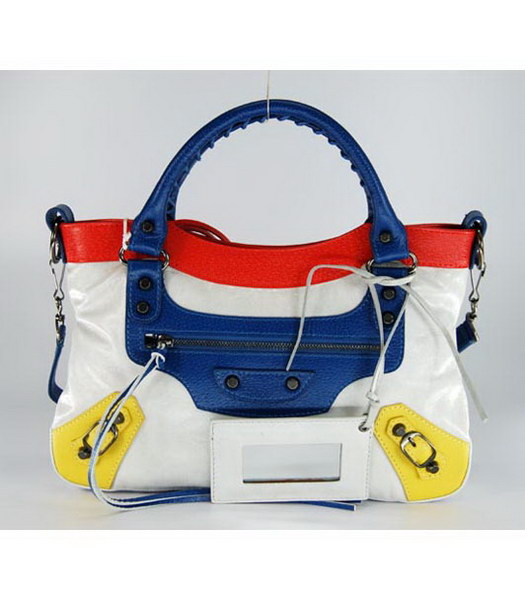 Balenciaga First Colorful Bag in Offwhite Leather