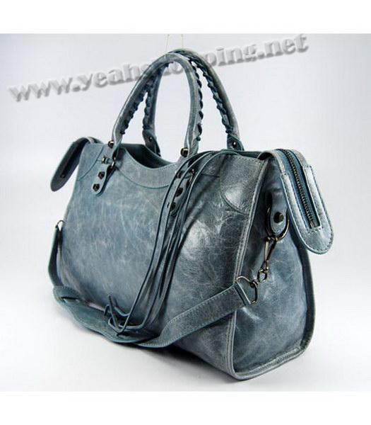 Balenciaga Giant City Bag in Light Blue Leather-2
