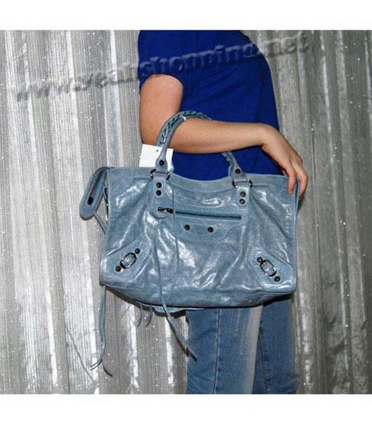 Balenciaga Giant City Bag in Light Blue Leather-7