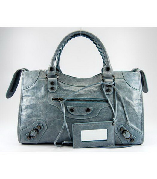 Balenciaga Giant City Bag in Light Blue Leather