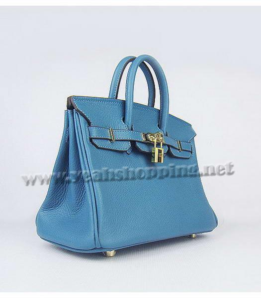 Hermes Birkin 25cm Middle Blue Togo Leather Golden Metal-1