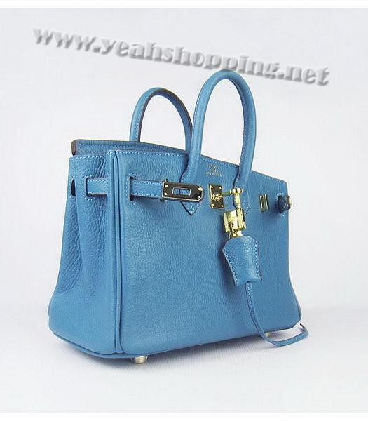 Hermes Birkin 25cm Middle Blue Togo Leather Golden Metal-3