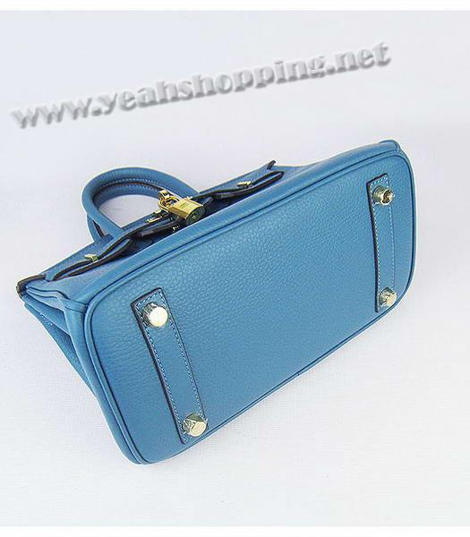 Hermes Birkin 25cm Middle Blue Togo Leather Golden Metal-4