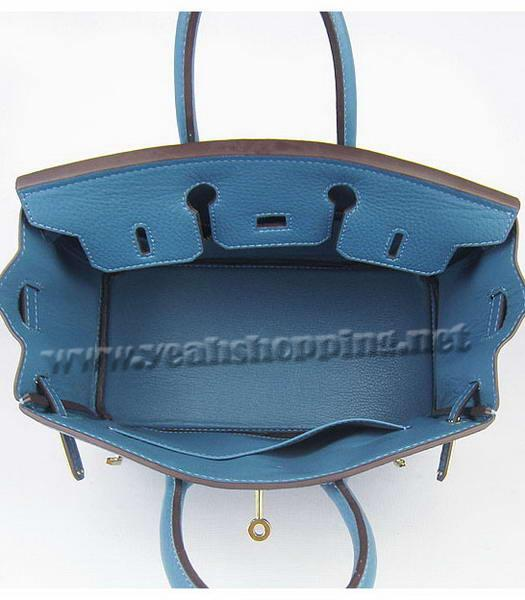 Hermes Birkin 25cm Middle Blue Togo Leather Golden Metal-5