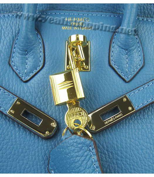 Hermes Birkin 25cm Middle Blue Togo Leather Golden Metal-6