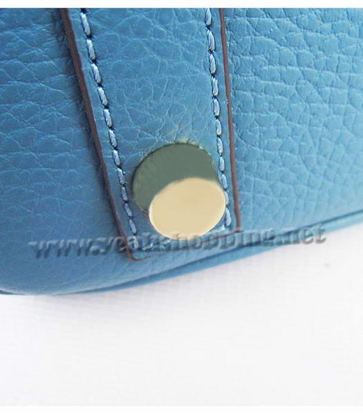 Hermes Birkin 25cm Middle Blue Togo Leather Golden Metal-7