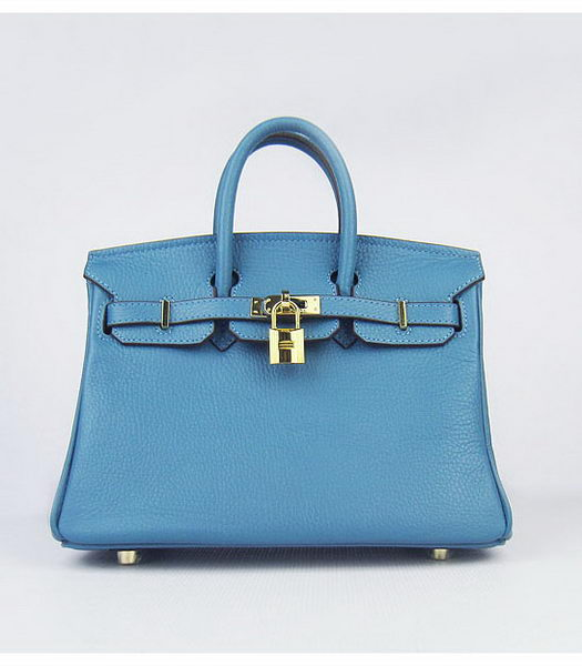 Hermes Birkin 25cm Middle Blue Togo Leather Golden Metal