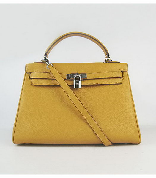 Hermes Kelly 32cm Light Yellow Togo Leather Silver Metal