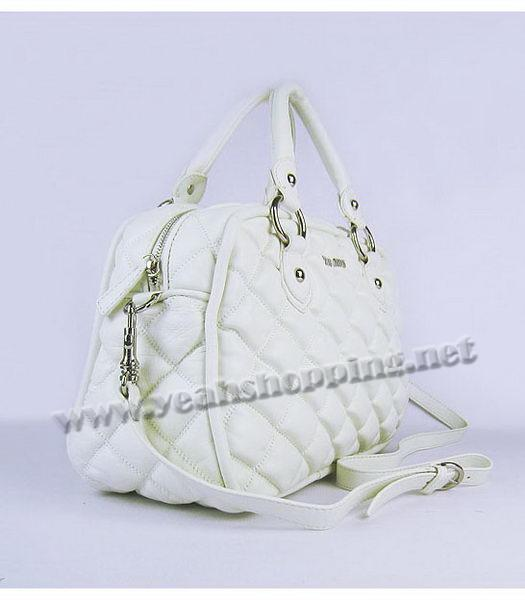 Miu Miu Quilted Leather Bowler Bag in White-1