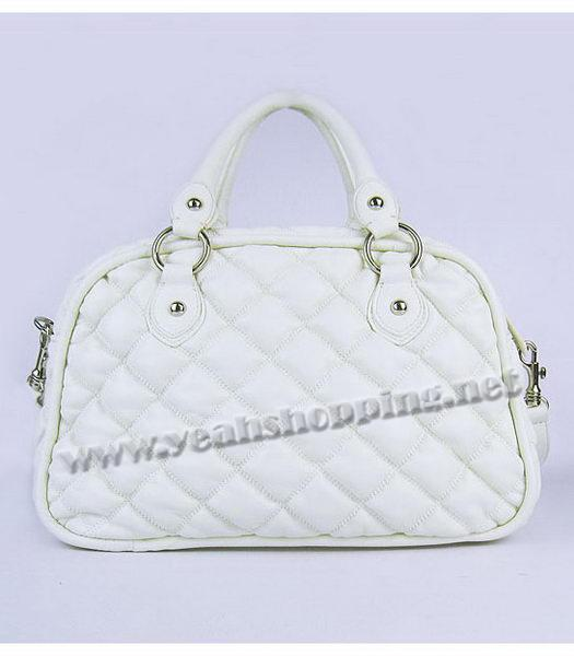 Miu Miu Quilted Leather Bowler Bag in White-2