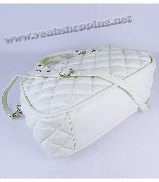 Miu Miu Quilted Leather Bowler Bag in White-3