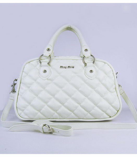 Miu Miu Quilted Leather Bowler Bag in White