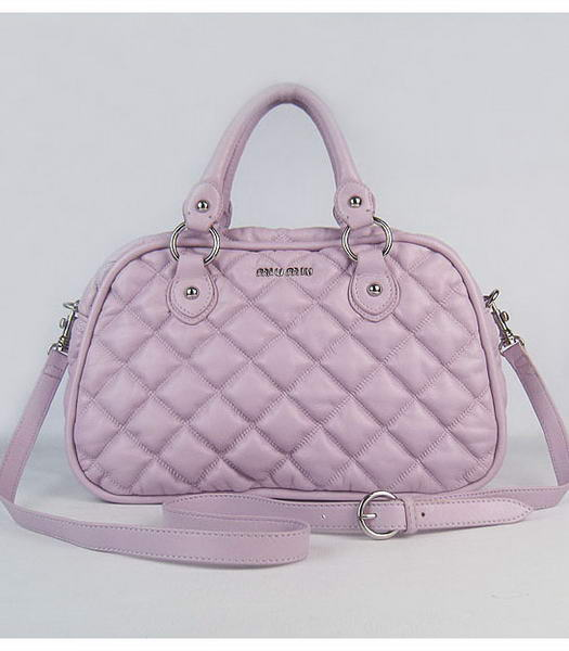 Miu Miu Quilted Leather Bowler Bag in Pink Purple