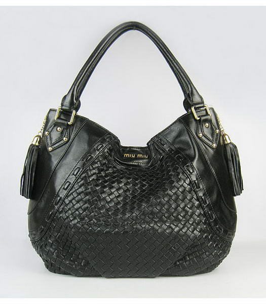 Miu Miu Supple Lambskin Woven Tote Bag in Black