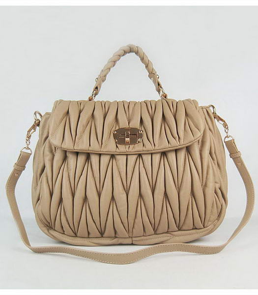 Miu Miu Quality Matelasse Medium Tote Bag in Apricot
