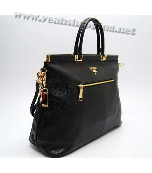 Prada Black Leather Tote Bag-1