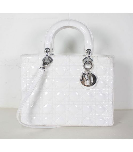 Dior Middle Quilted Lady Cannage Tote Bag White Patent Leather