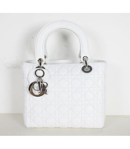 Dior Small Lady Cannage Silver D Tote Bag White Leather - Replica ...