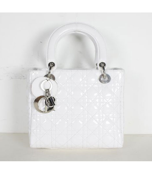 Dior Small Lady Cannage Silver D Tote Bag White Patent Leather