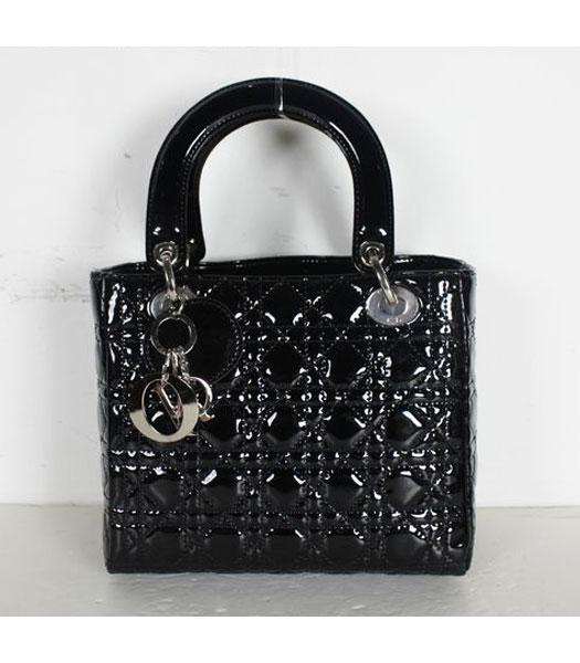 Dior Small Lady Cannage Silver D Tote Bag Black Patent Leather