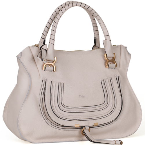 Chloe Marcie Leather Large Tote in White