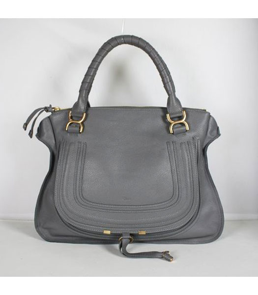 Chloe Marcie Leather Large Tote in Grey