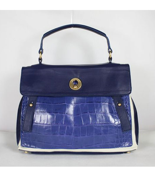 YSL Tote Bag Blue Croc Leather with Sapphire Blue Tote Bag