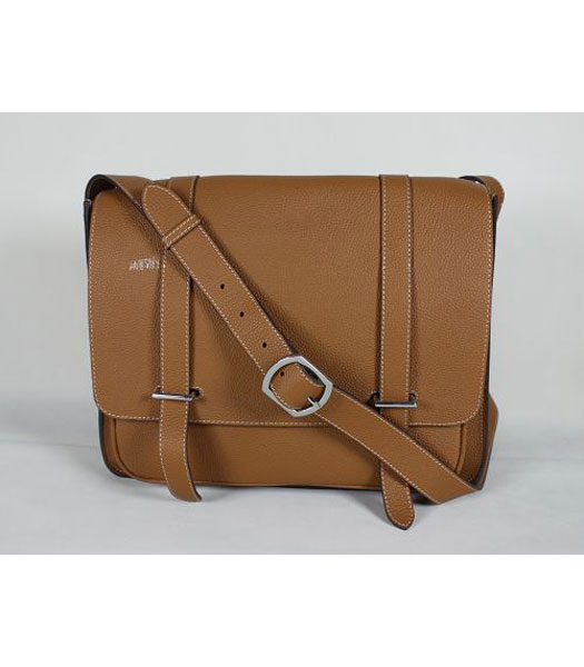 Hermes Genuine Leather Messenger Bag in Light Coffee