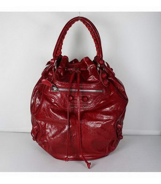Balenciaga Covered Giant Pompon Tote Bag Jujube Red