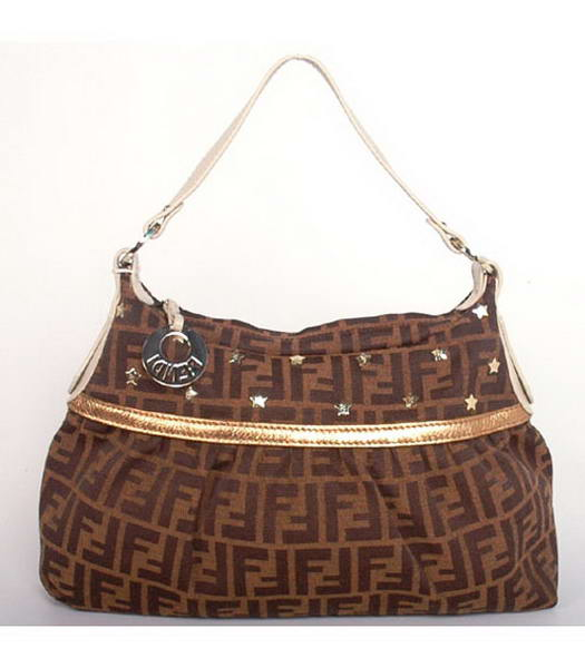Fendi 'Chef Zucca' Studded Hobo Bag with Bronze Calfskin