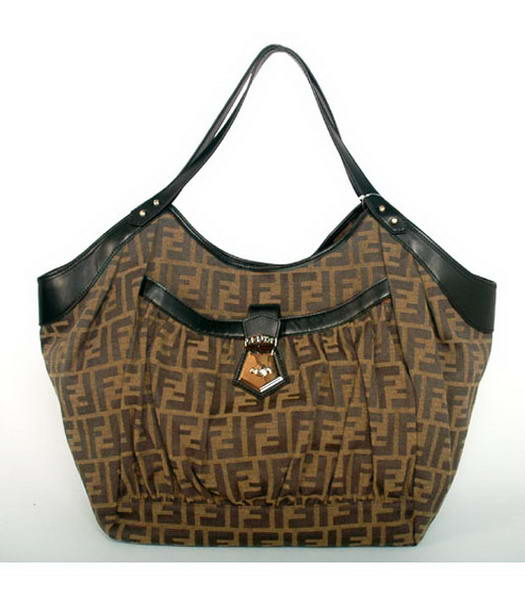 Fendi 2011 New Canvas Handbag with Black Leather Trim