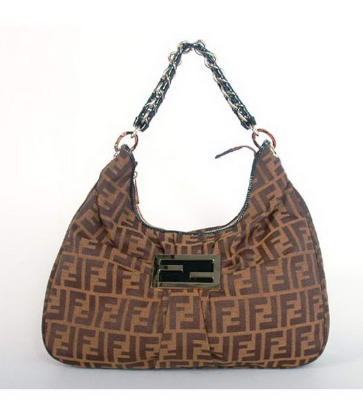 Fendi Canvas Handbag with Black Leather Trim
