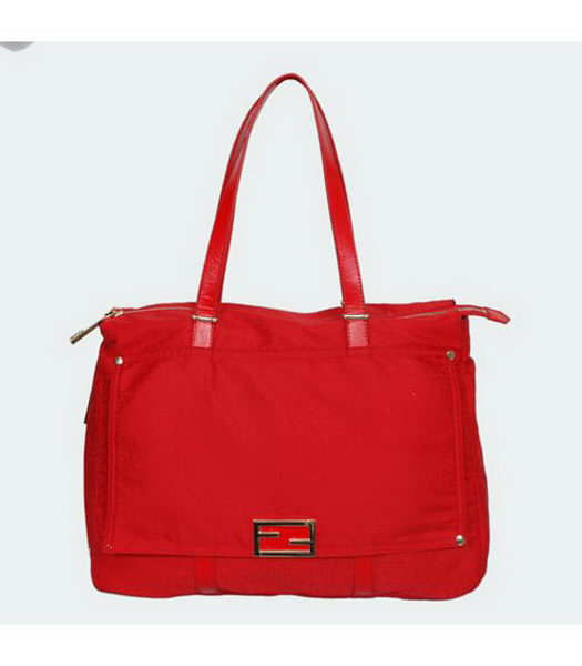 Fendi Forever Zia Bag Red with Calfskin Trim