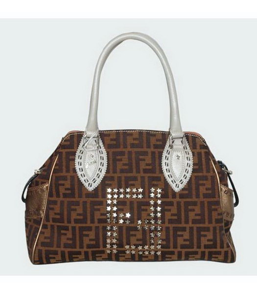 Fendi Studded FF Bag with Bronze Leather Trim