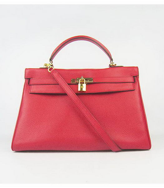 Hermes Kelly 35cm Red Togo Leather Bag Golden Metal