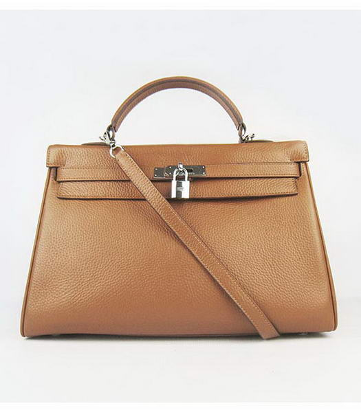 Hermes Kelly 35cm Light Coffee Togo Leather Bag Silver Metal