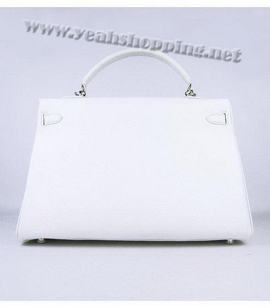 Hermes Kelly 35cm White Togo Leather Bag Silver Metal-2