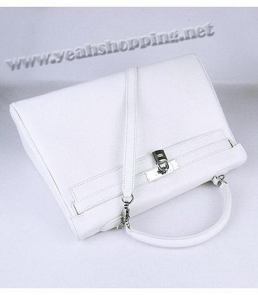 Hermes Kelly 35cm White Togo Leather Bag Silver Metal-4