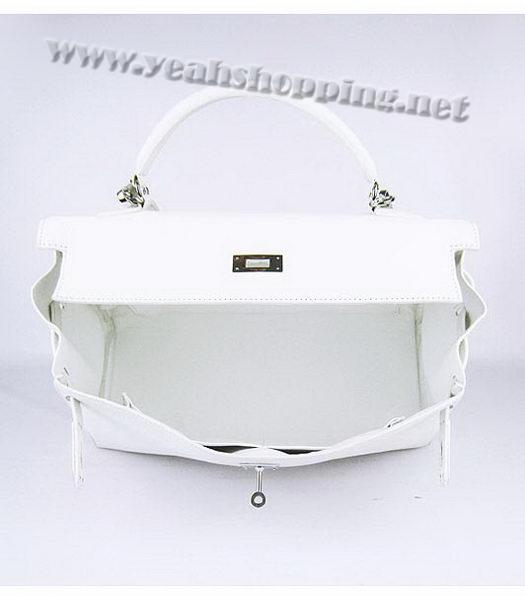 Hermes Kelly 35cm White Togo Leather Bag Silver Metal-5