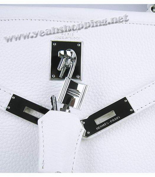 Hermes Kelly 35cm White Togo Leather Bag Silver Metal-6