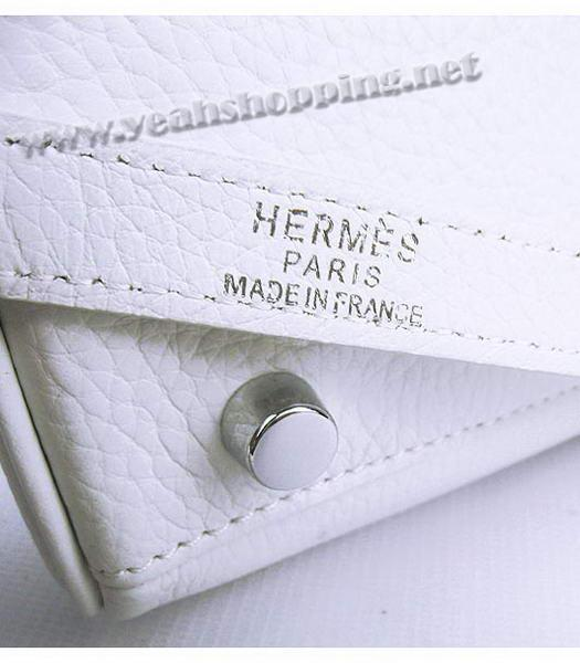 Hermes Kelly 35cm White Togo Leather Bag Silver Metal-8
