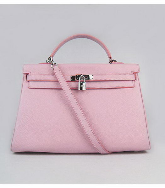 Hermes Kelly 35cm Pink Togo Leather Bag Silver Metal