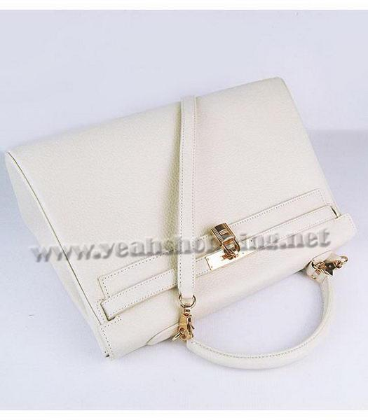 Hermes Kelly 35cm Offwhite Togo Leather Bag Golden Metal-4