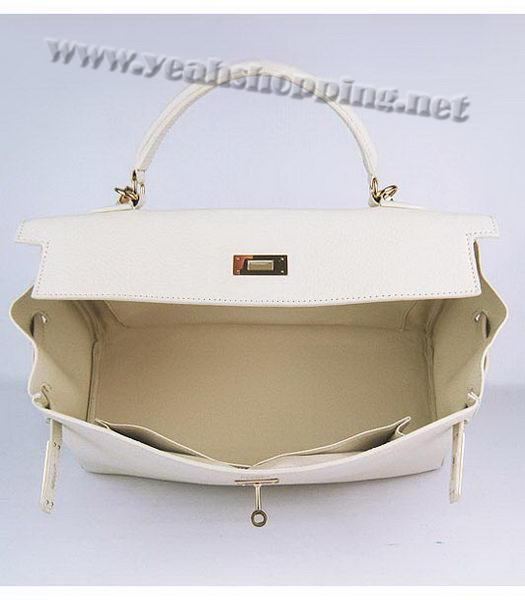 Hermes Kelly 35cm Offwhite Togo Leather Bag Golden Metal-5