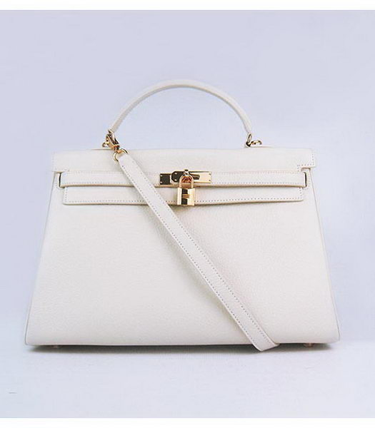 Hermes Kelly 35cm Offwhite Togo Leather Bag Golden Metal