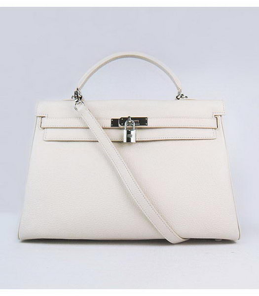 Hermes Kelly 35cm Offwhite Togo Leather Bag Silver Metal