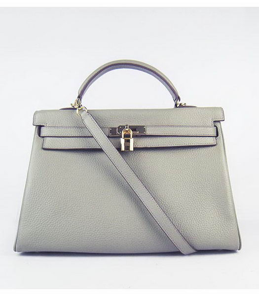 Hermes Kelly 35cm Khaki Togo Leather Bag Golden Metal
